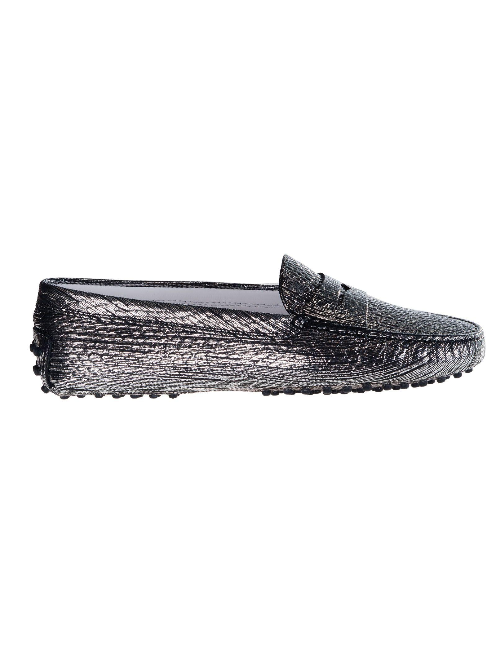 c81246cd8ad Lyst - Tod S Women s Silver grey Leather Loafers in Gray