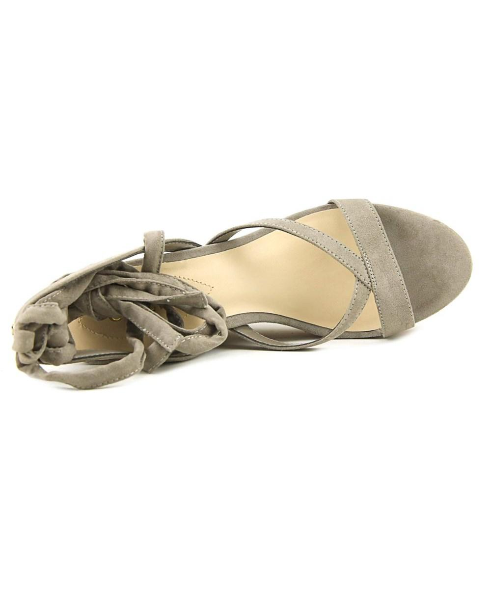 0173459b8733 Lyst - Guess Treacy Women Open Toe Canvas Brown Wedge Sandal in Brown