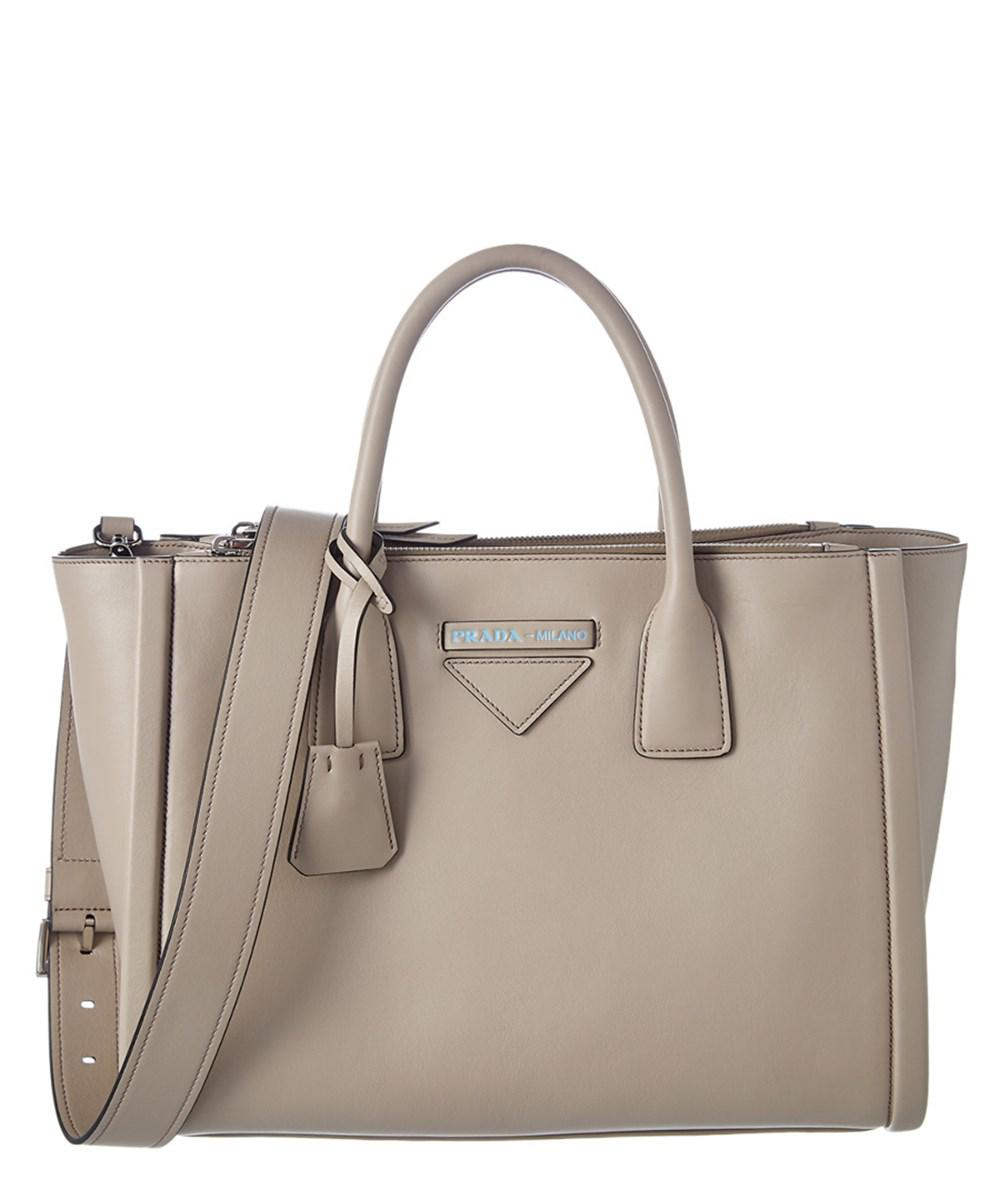 Lyst - Prada Small Concept Leather Tote in Natural 41964d0b83