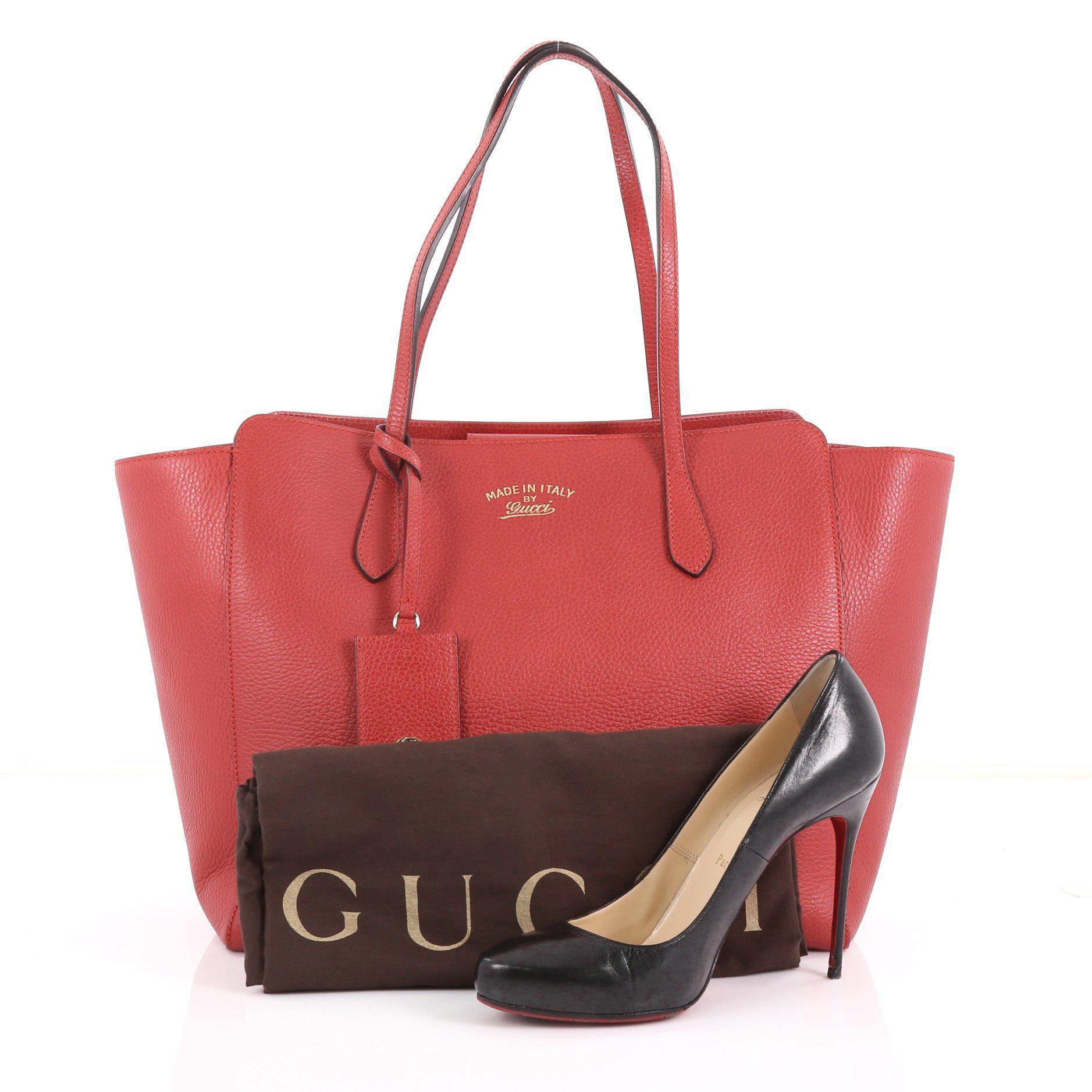 99cc68861e6e Gucci - Red Pre Owned Swing Tote Leather Medium - Lyst. View fullscreen
