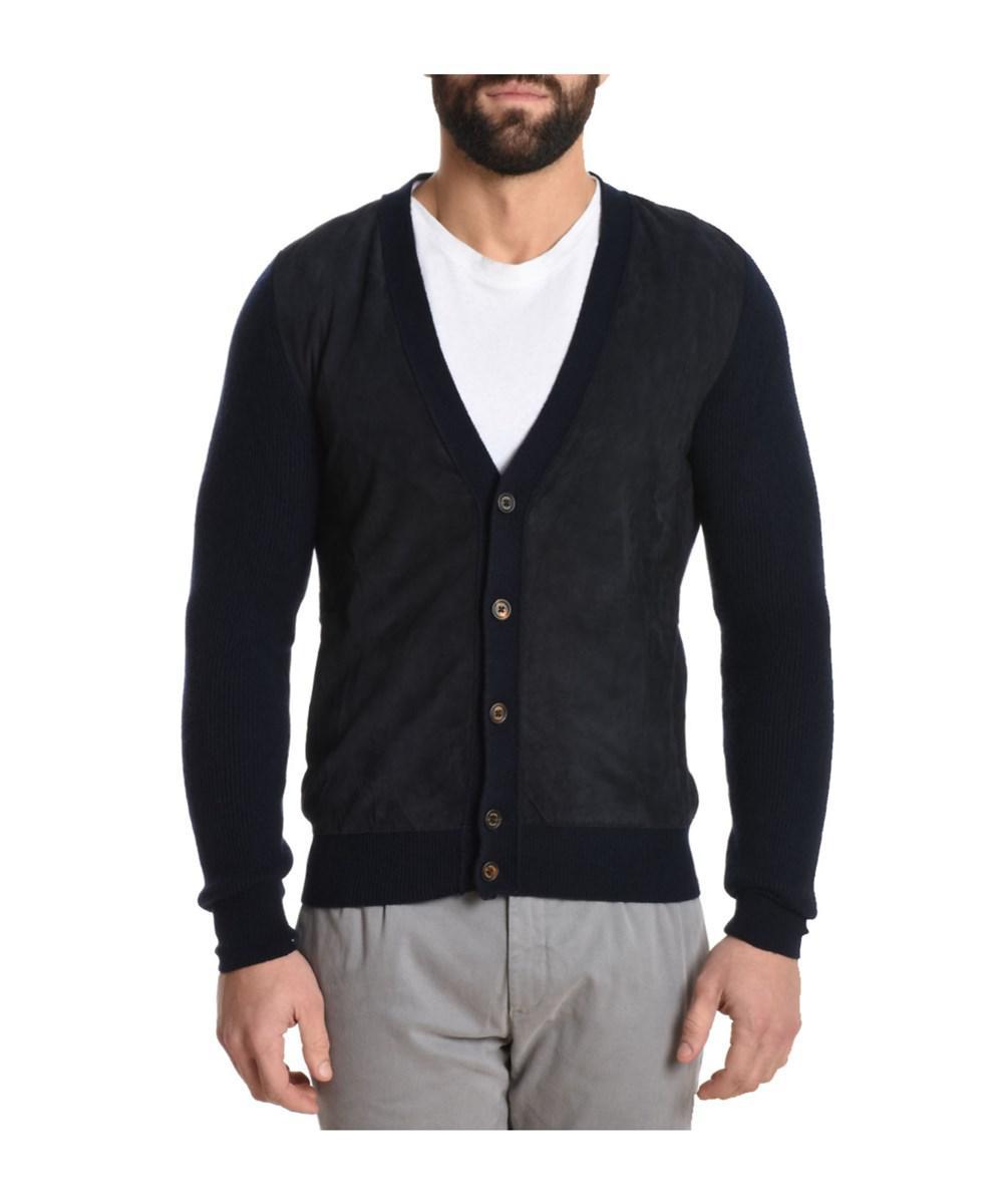 Eleventy Men's Blue Wool Cardigan in Blue for Men | Lyst