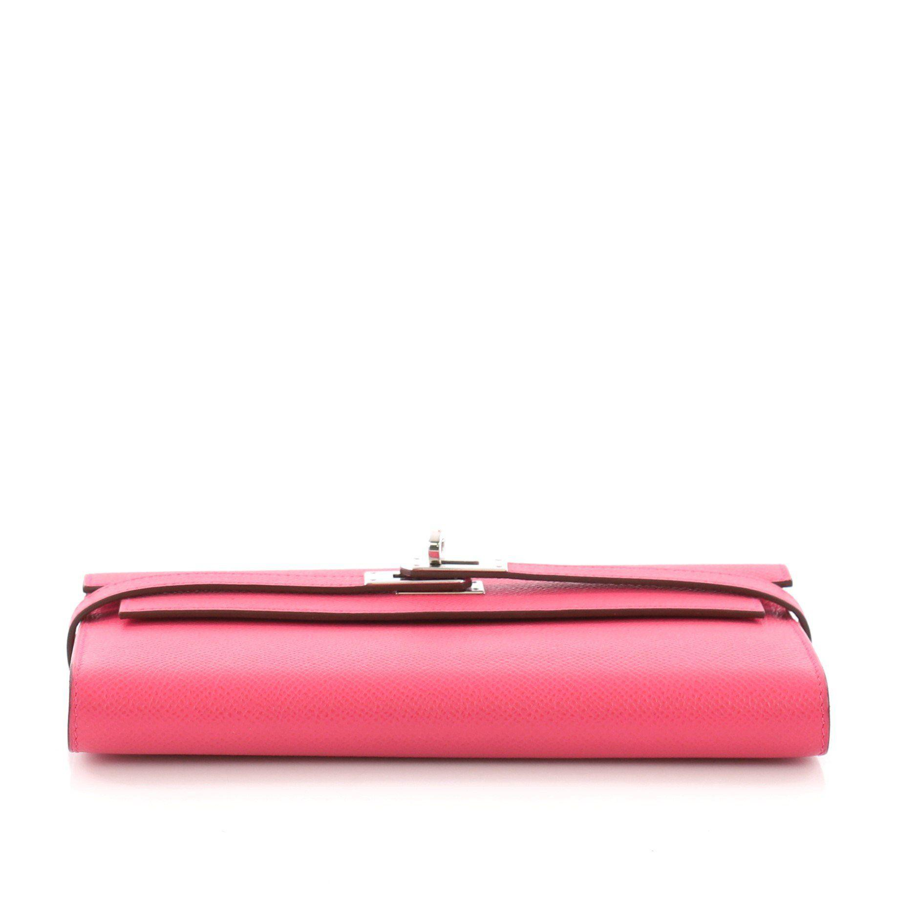 1a8d5a4b50a Hermès - Pink Pre Owned Kelly Wallet Epsom Long - Lyst. View fullscreen