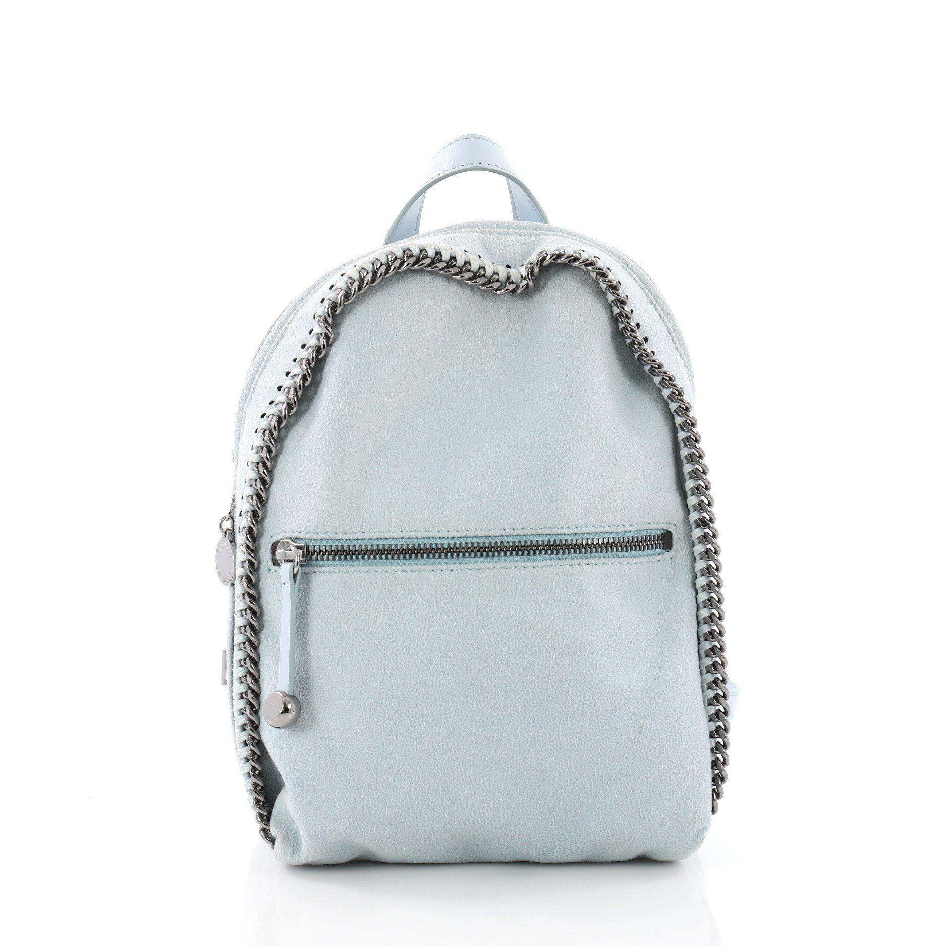 3aff5a07035d Stella McCartney. Women s Blue Pre Owned Falabella Front Zip Backpack  Shaggy Deer Mini