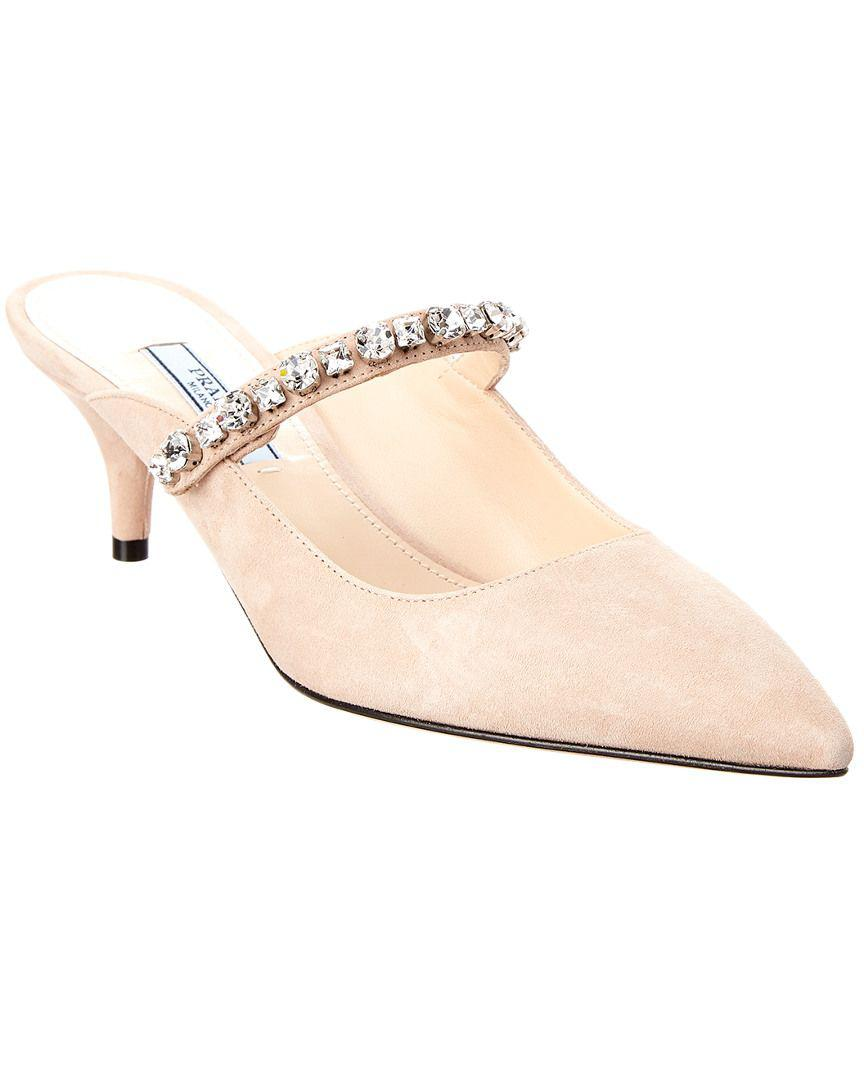 5d6e4ffb3e6 Prada Crystal Embellished Pointy-toe Suede Mule in Natural - Lyst