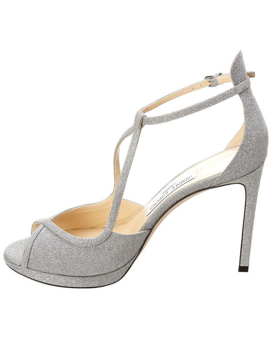 56592325e14 Lyst - Jimmy Choo Fawne 100 Glitter Leather Platform Sandal