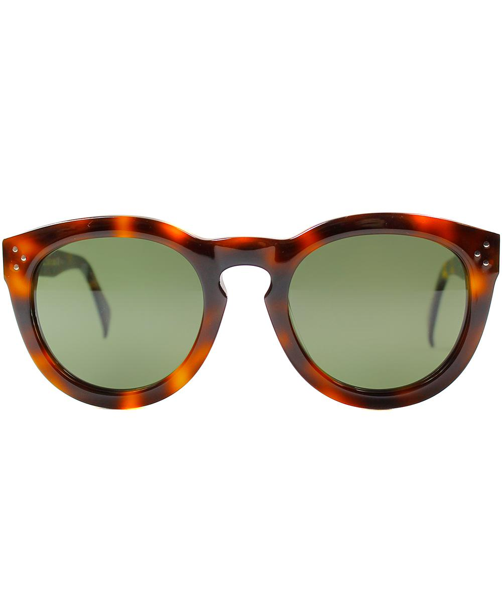 91984443356f Lyst - Céline Round Plastic Sunglasses in Brown