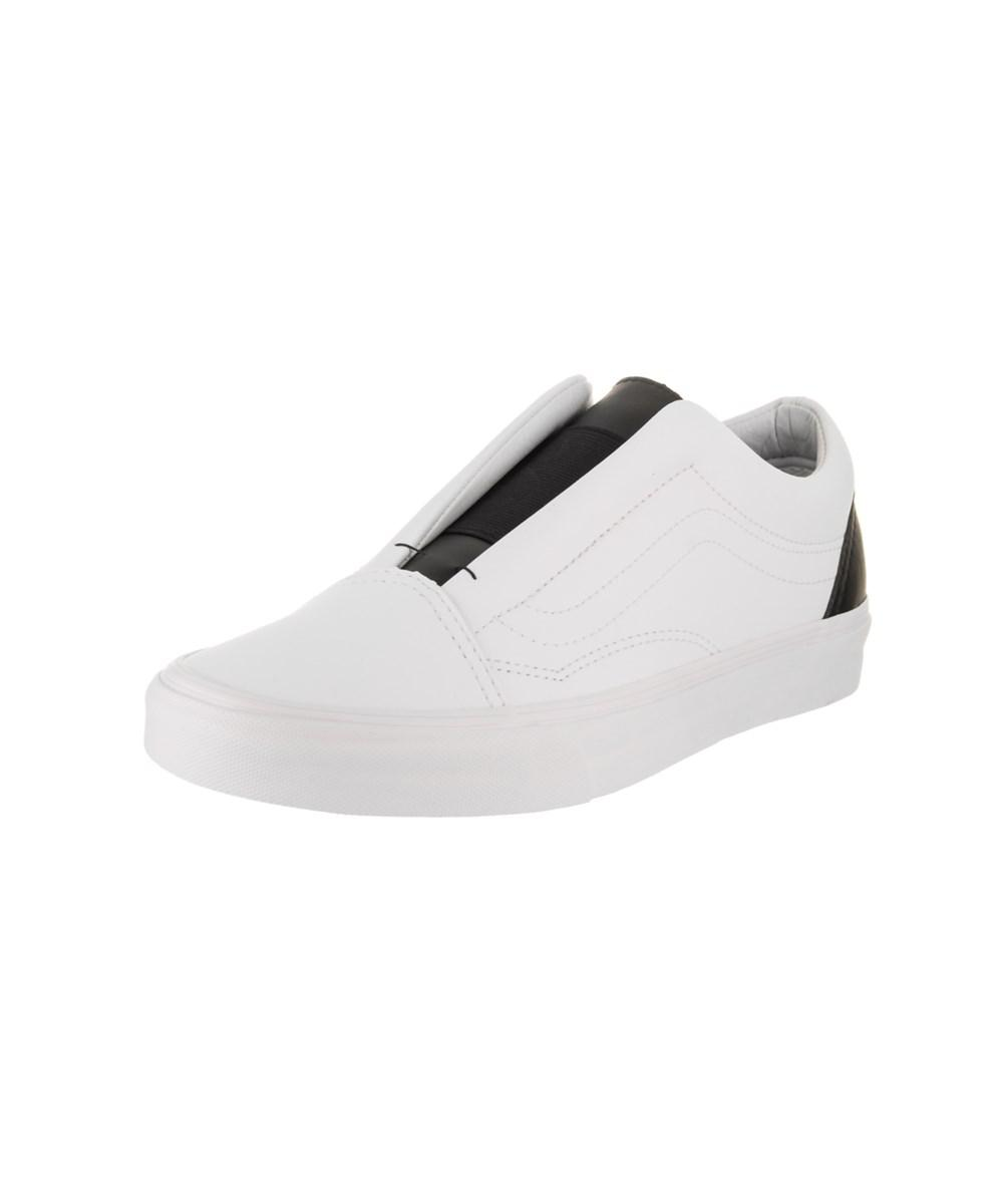 Vans Unisex Old Skool Laceless (classic Tumble) Skate Shoe in White ... 9a3b8d4ad