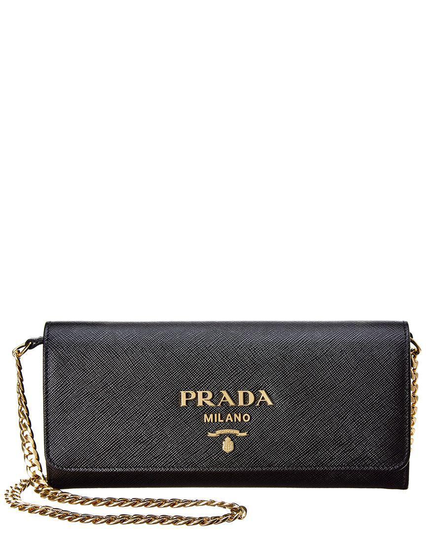Lyst - Prada Saffiano Leather Wallet On Chain in Black 6386fb1775a88