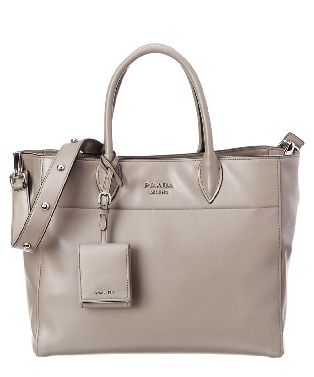 f6b10fb014 ... amazon lyst prada city calf leather tote in gray 04585 e3be6