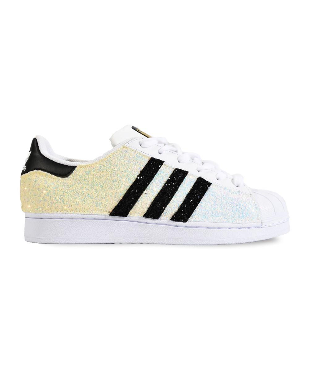 lyst adidas donne bianca glitter scarpe bianche