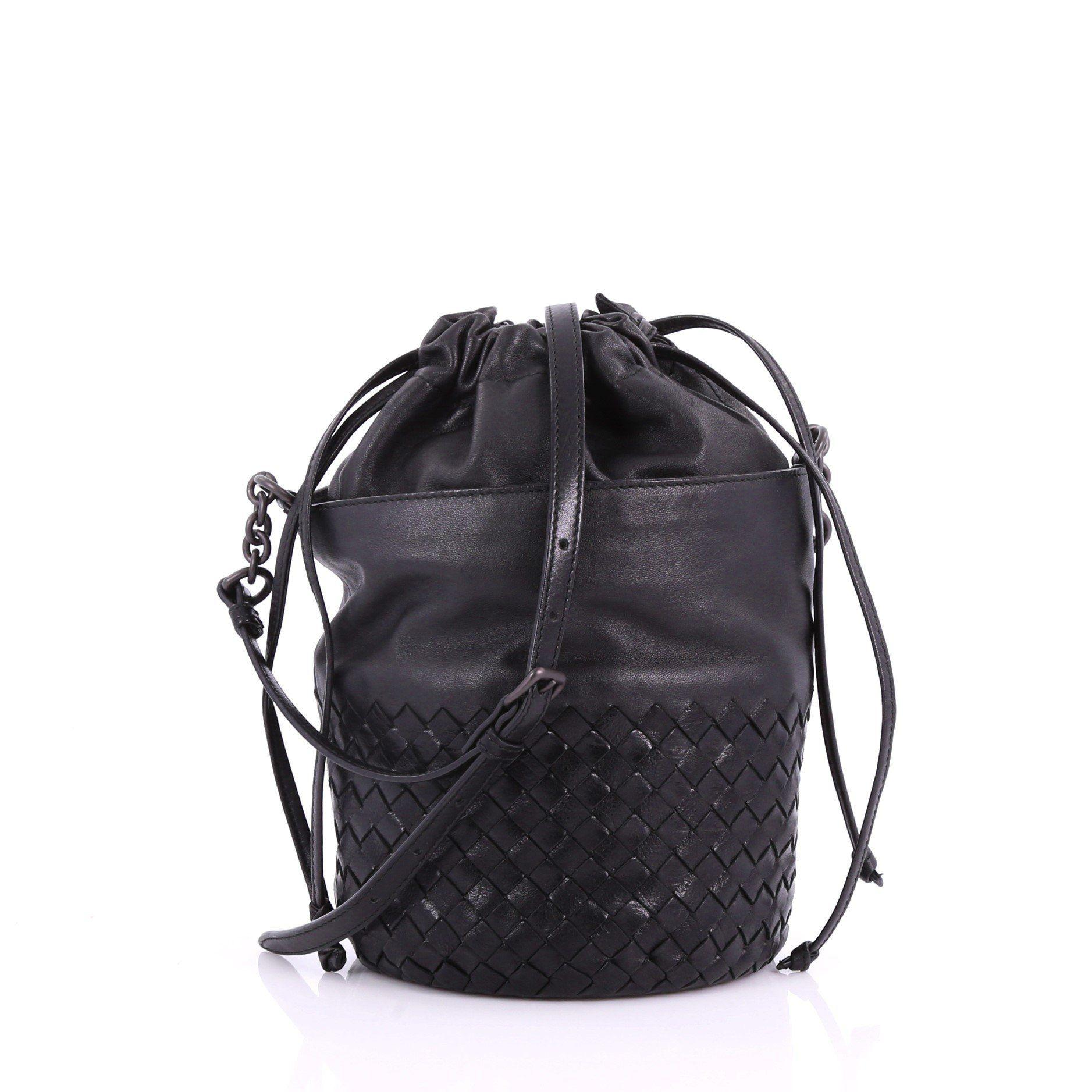 cc06bc2970b2 Bottega Veneta. Women s Black Pre Owned Drawstring Bucket Bag Leather ...