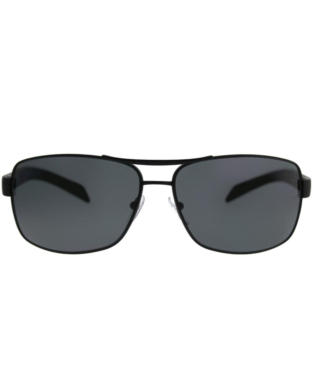 43ebb9d9d0 Prada Black Rubber Aviator Sunglasses in Black - Lyst