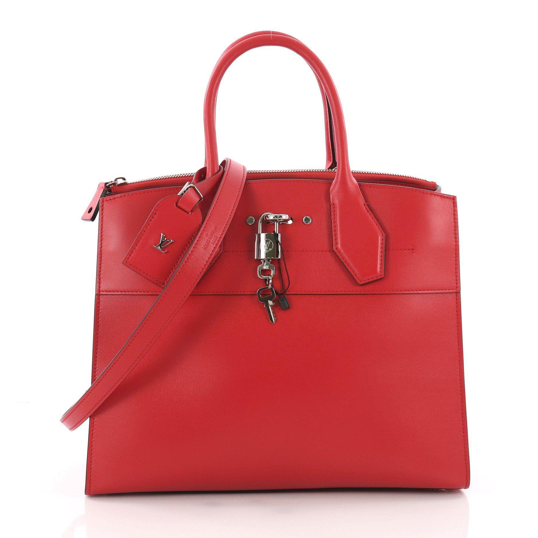 b7d2e5f25b1a Lyst - Louis Vuitton Pre Owned City Steamer Handbag Leather Mm in Red