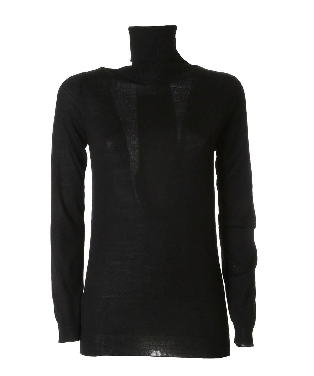 Pinko Women's Black Wool Sweater in Black | Lyst
