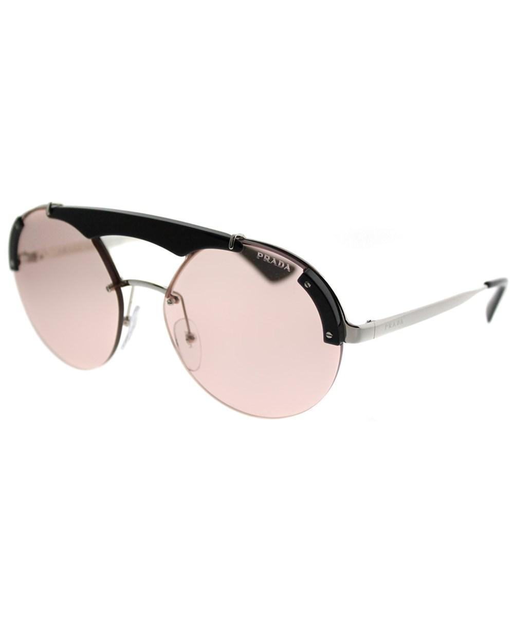 1fba82ecff8b6 ... order prada metallic ornate pr 52us 1ab4q0 silver black round sunglasses  lyst. view fullscreen 7f17c
