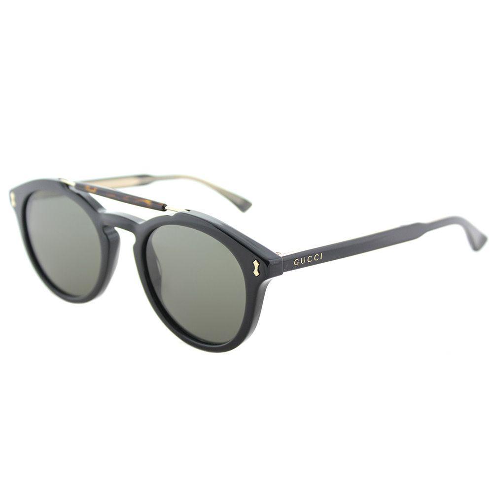 2debb4ef07 Gucci - Gg 0124s 001 Black Round Sunglasses - Lyst. View fullscreen