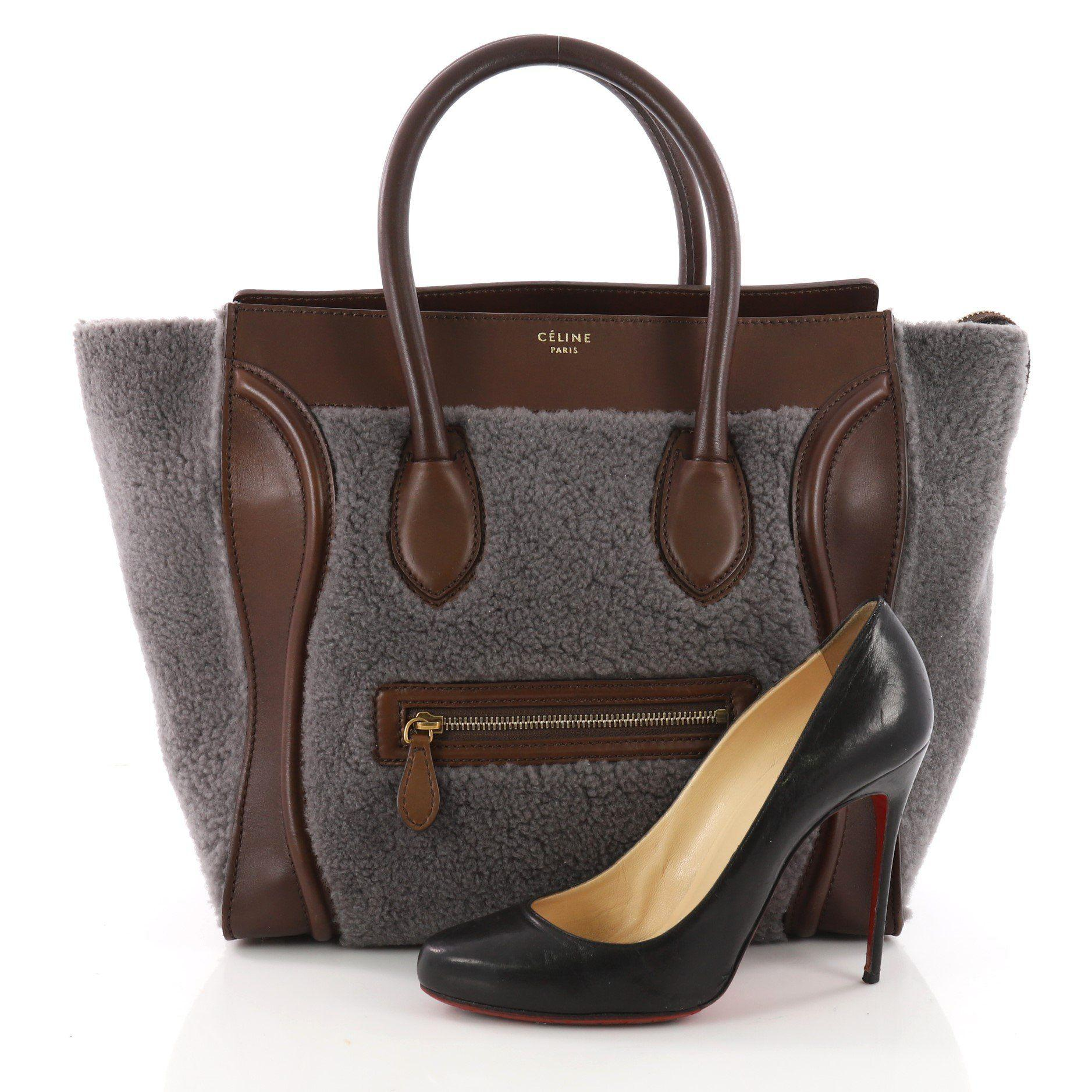 8c8a8a84420 Lyst - Céline Pre Owned Bicolor Luggage Handbag Shearling Mini in Brown