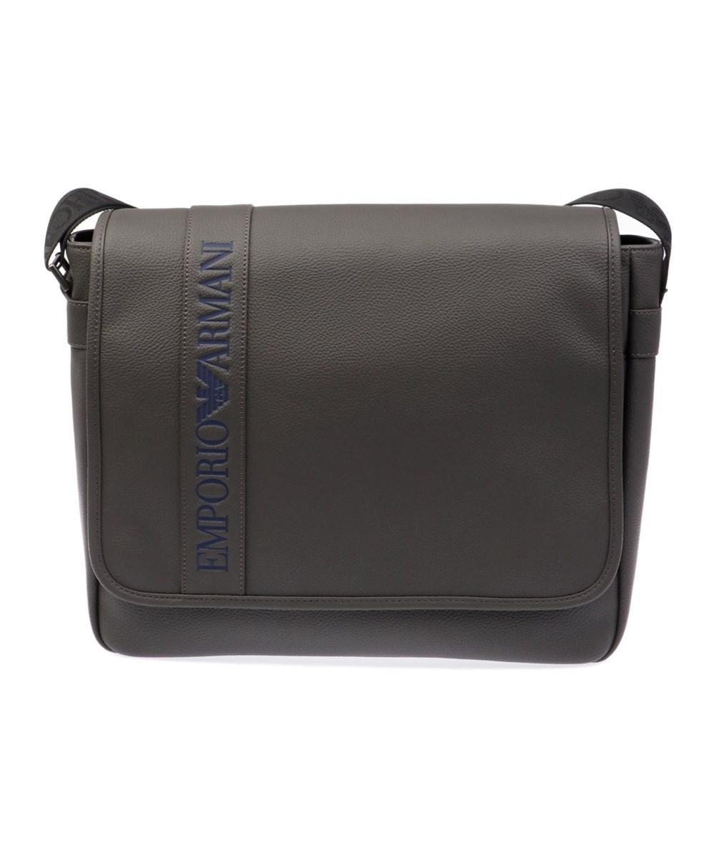 3c8a8d627912 Emporio Armani Men s Grey Leather Messenger Bag in Gray for Men - Lyst
