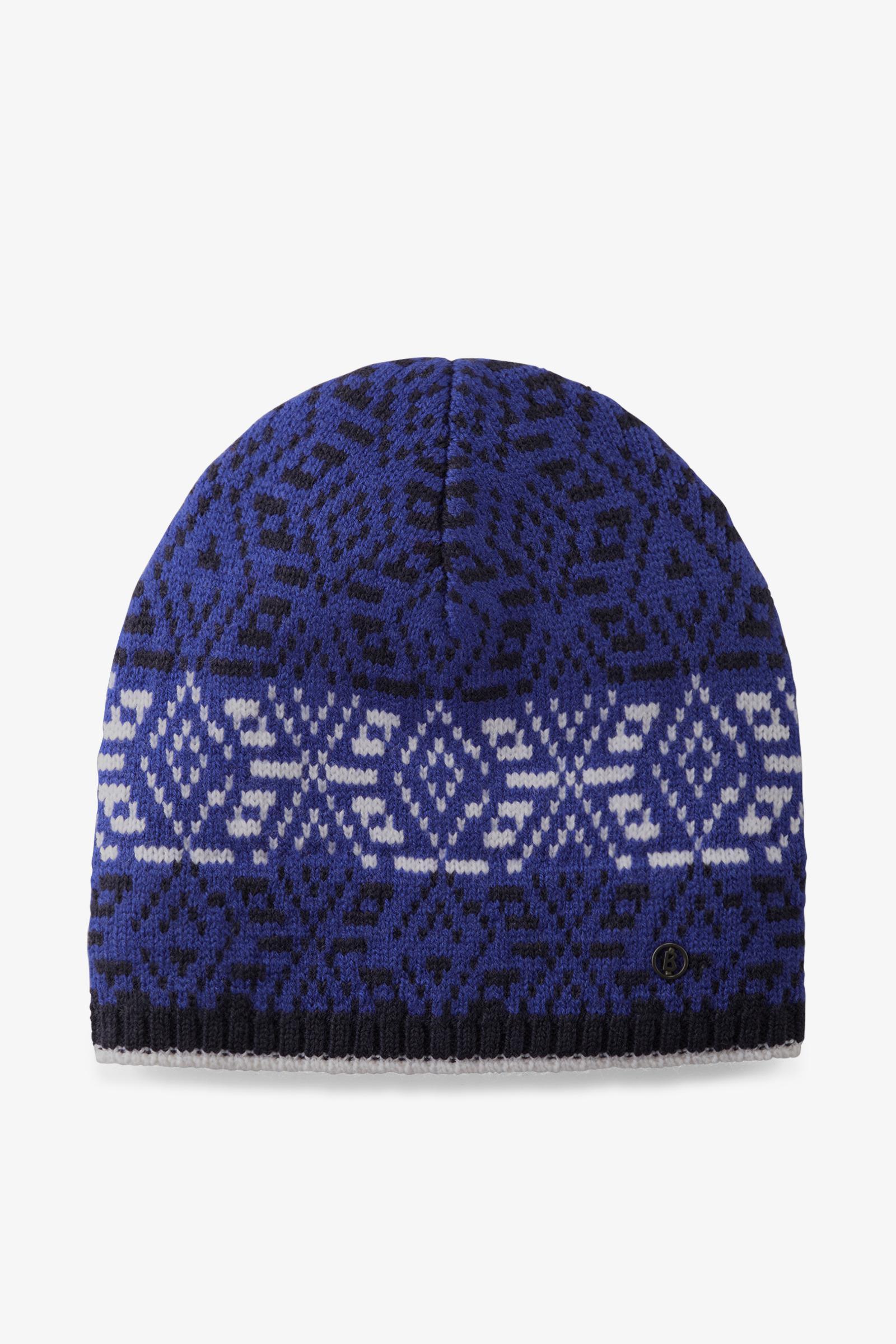 7ee348522b4b13 Bogner Trina Knitted Hat In Indigo/black/off-white in Blue - Lyst