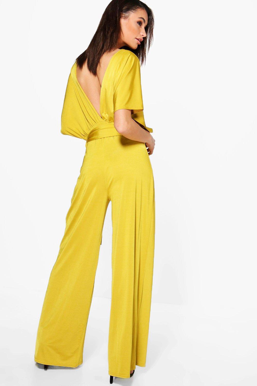 8d83cbf40e0a Boohoo - Yellow Plunge Kimono Style Wide Leg Jumpsuit - Lyst. View  fullscreen