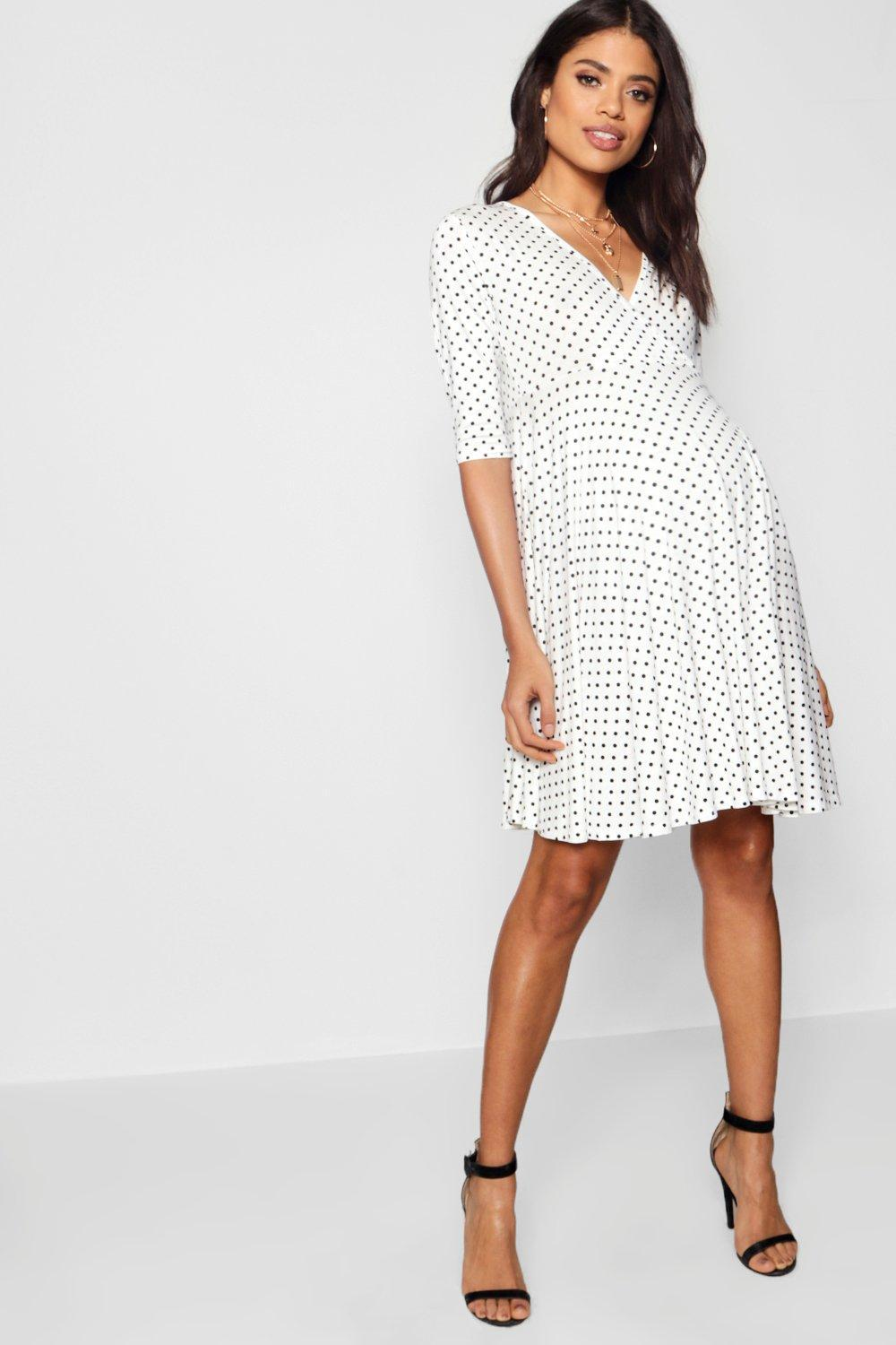 72322717792b Boohoo Maternity Polka Dot Wrap Smock Dress in White - Lyst