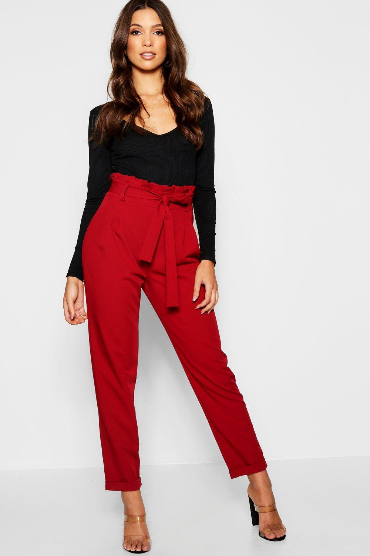 Boohoo Premium Paperbag Waist Tailored Trouser - Lyst cf6d79b18