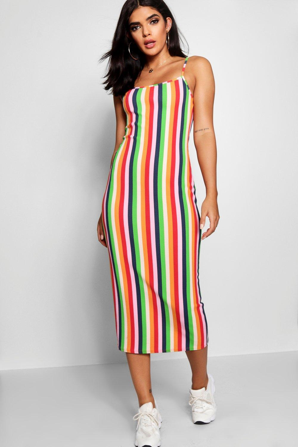 22d069f210d55 Lyst - Boohoo Square Neck Cami Stripe Midaxi Dress in Red