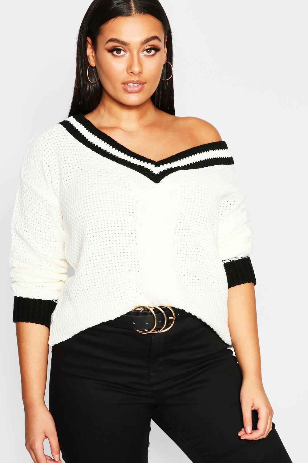 64f3a9bc0c3e0 Lyst - Boohoo Plus Contrast Oversized Cable Knit Jumper in White