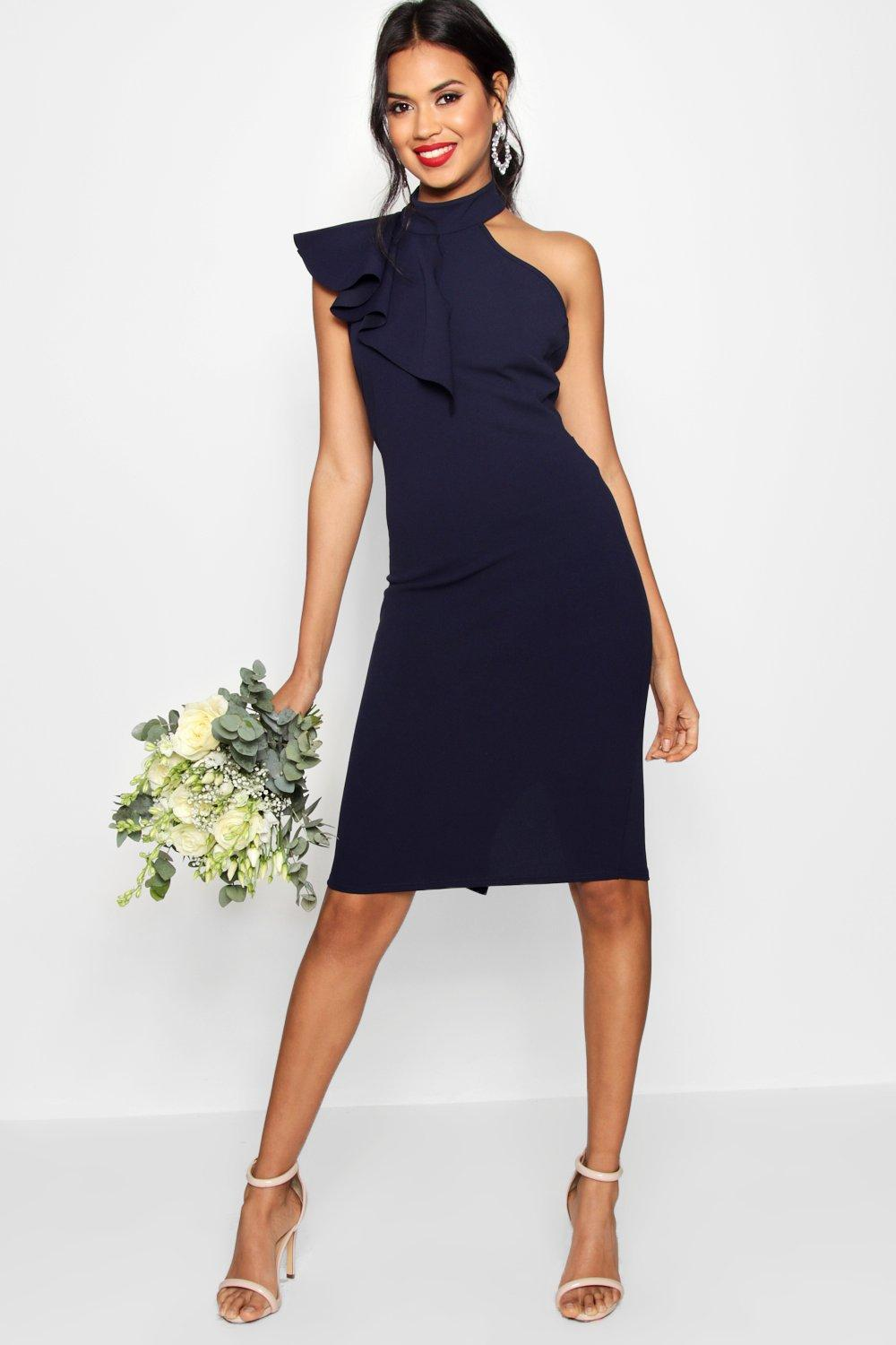 1248e577f1 Boohoo Frill Detail High Neck Midi Dress in Blue - Lyst