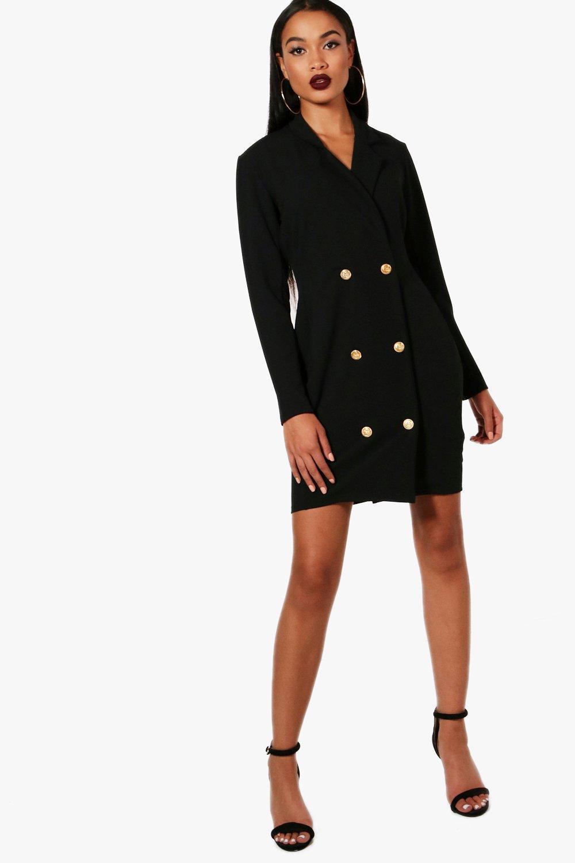 31ec86c88e96 Boohoo Georgia Double Breasted Blazer Dress in Black - Lyst