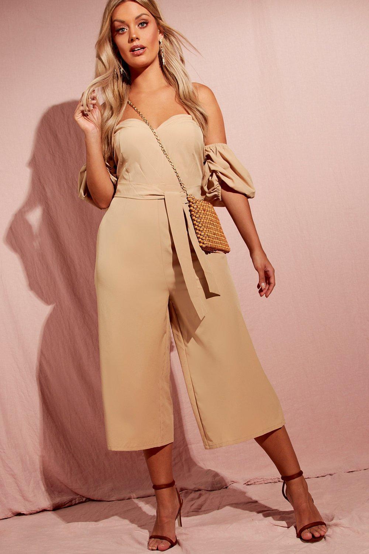 45628b8ddbf1 Lyst - Boohoo Plus Puff Sleeve Culotte Jumpsuit in Natural
