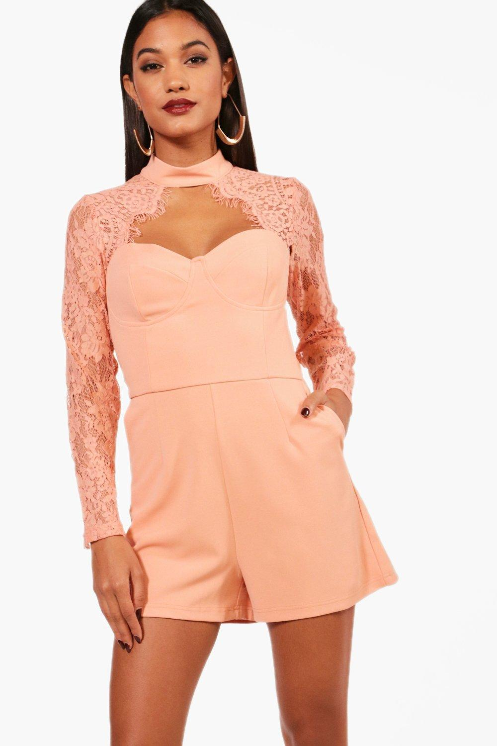 8b97cd1d8b Lyst - Boohoo Lace Insert Playsuit in Pink