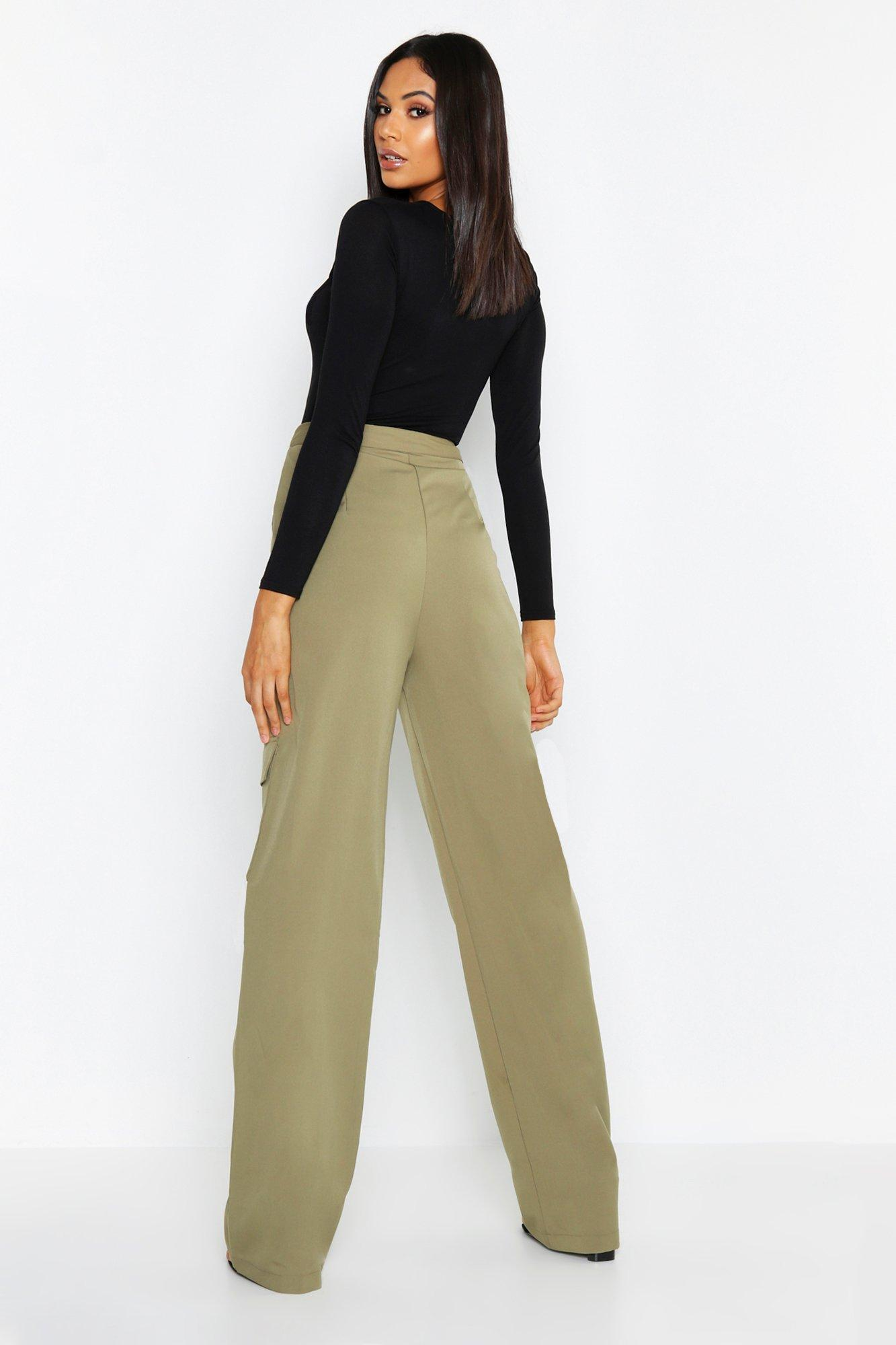 138b5b62e551a Boohoo Tall Utility Pocket Wide Leg Pants in Green - Lyst