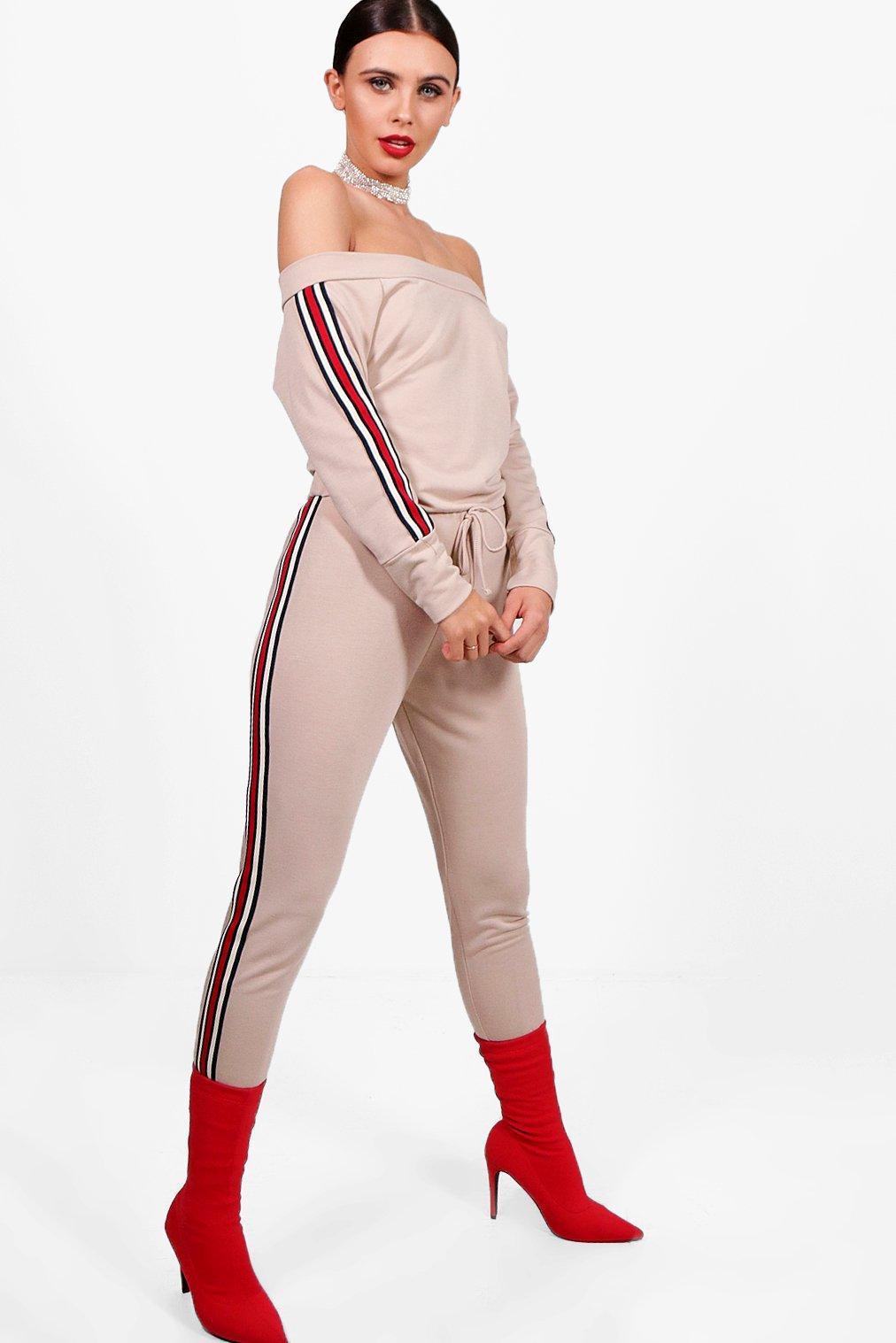 e58e691e997d Lyst - Boohoo Petite Sports Trim Lounge Jumpsuit