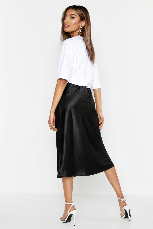 f60a83aef Boohoo - Black Satin Bias Cut Midi Skirt - Lyst. View fullscreen