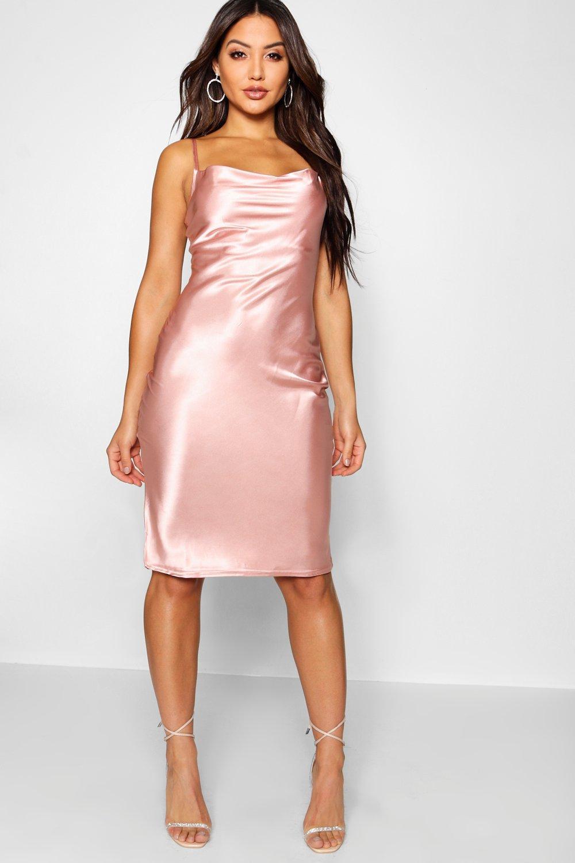 a47280607b165 ... Pink Satin Cowl Neck Midi Slip Dress - Lyst. Visit Boohoo. Tap to visit  site