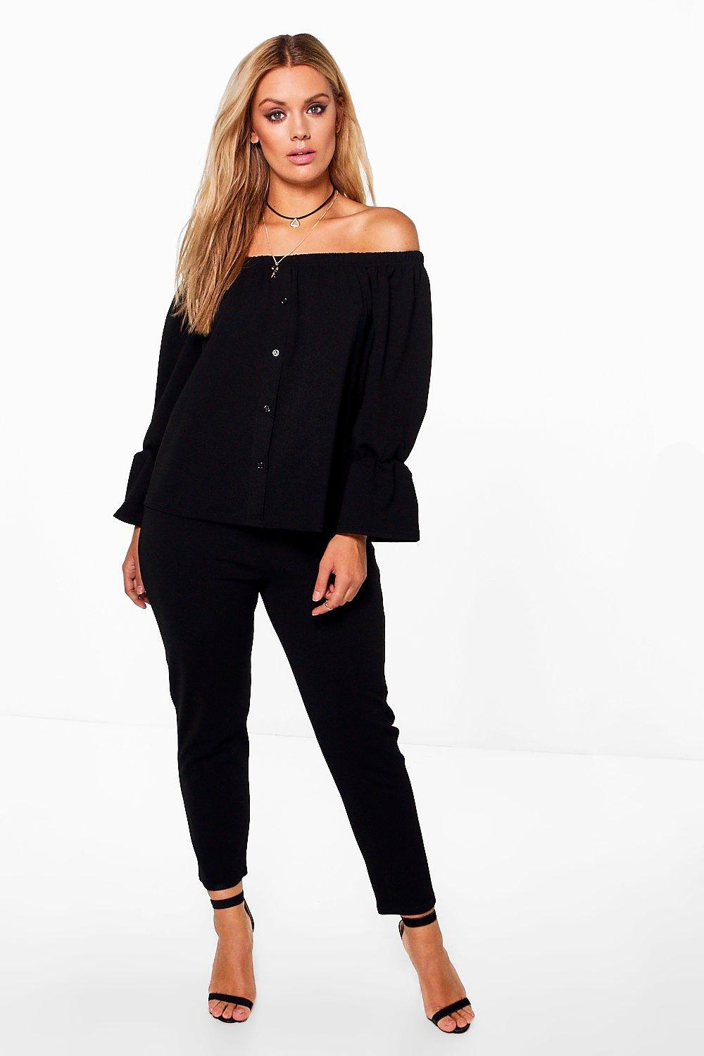00dbb7659a8656 Lyst - Boohoo Plus Off The Shoulder Top + Pants Co-ord in Black