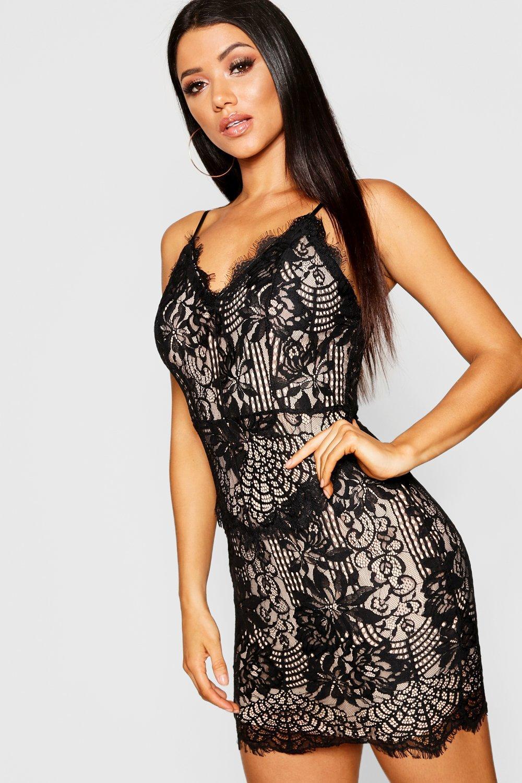 303a42438b3 Boohoo Eyelash Lace Strappy Bodycon Dress in Black - Lyst