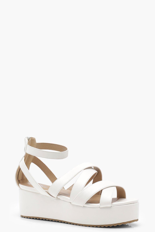 9ad4d1f61c96 Lyst - Boohoo Cross Strap Flatform Sandals in White
