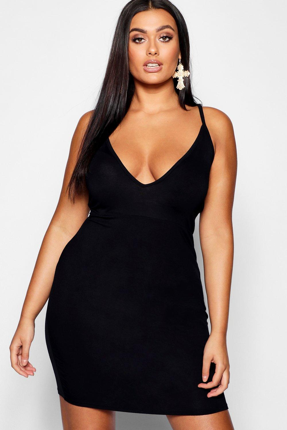 d41c7e992c Boohoo Plus Super Plunge Bodycon Dress in Black - Lyst