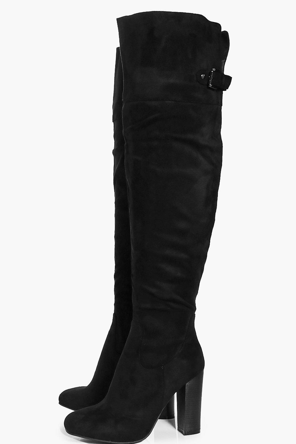 42fed4a00dc Lyst - Boohoo Amy Block Heel Back Vent Over The Knee Boot in Black