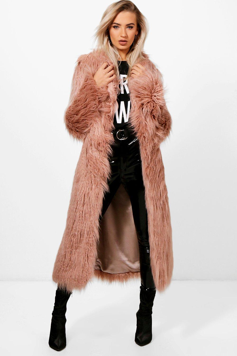 3f2ce5407e602 Boohoo Boutique Mongolian Maxi Faux Fur Coat in Pink - Lyst