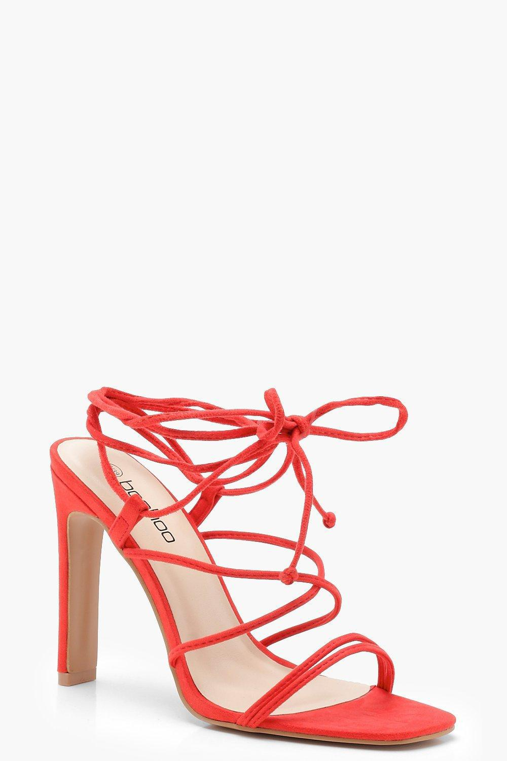 91901f91469 Boohoo Strappy Wrap Heel Sandals in Red - Lyst