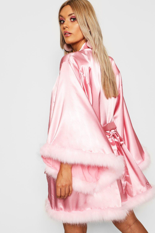 f2d59c7e0464 Boohoo - Pink Gemma Collins Short Kimono Robe With Fluffy Sleeve - Lyst.  View fullscreen