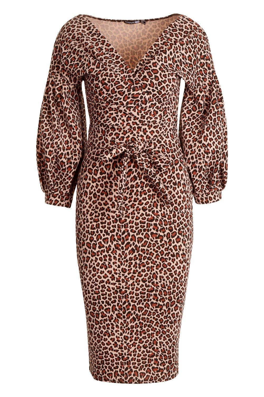 42bae97e18 ... Leopard Print Off The Shoulder Midi Dress - Lyst. View fullscreen