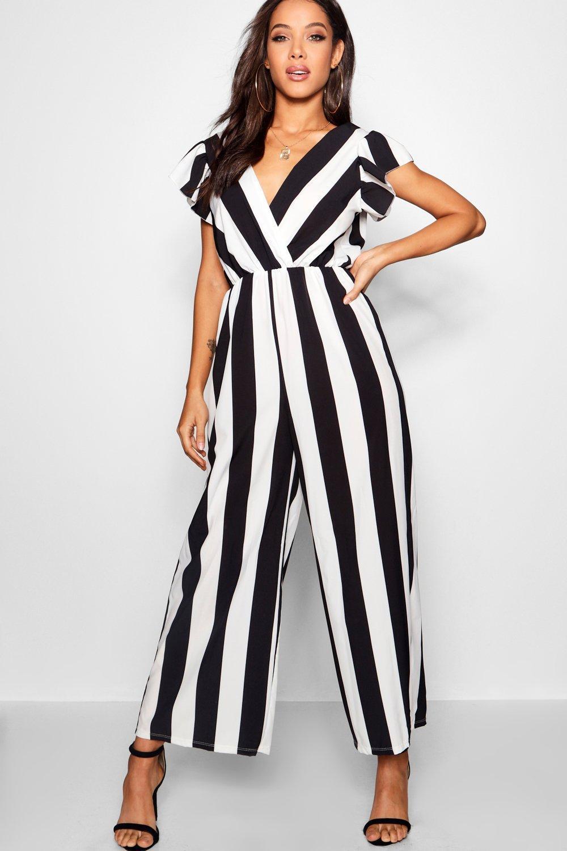 18c39c3076 Boohoo Wide Stripe Plunge Jumpsuit in Black - Lyst
