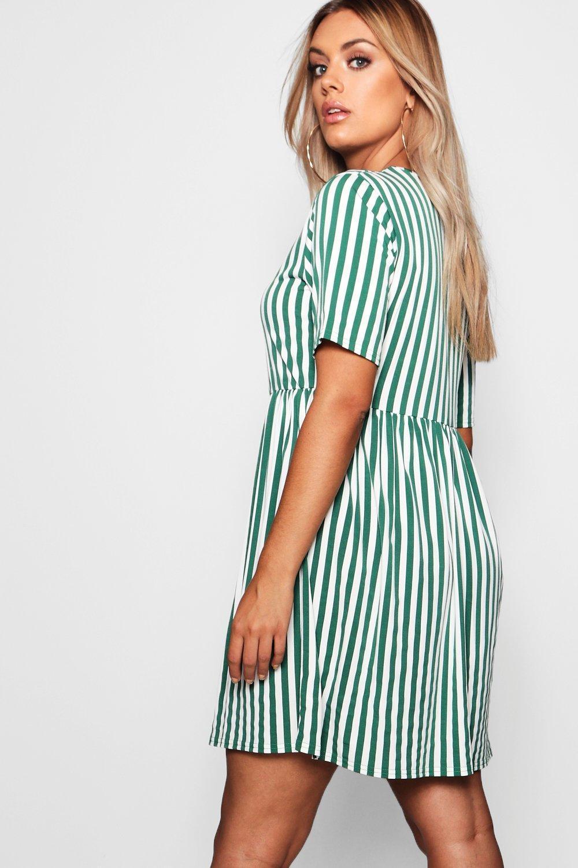 4d9147ef06 Boohoo - Blue Plus Striped Smock Dress - Lyst. View fullscreen