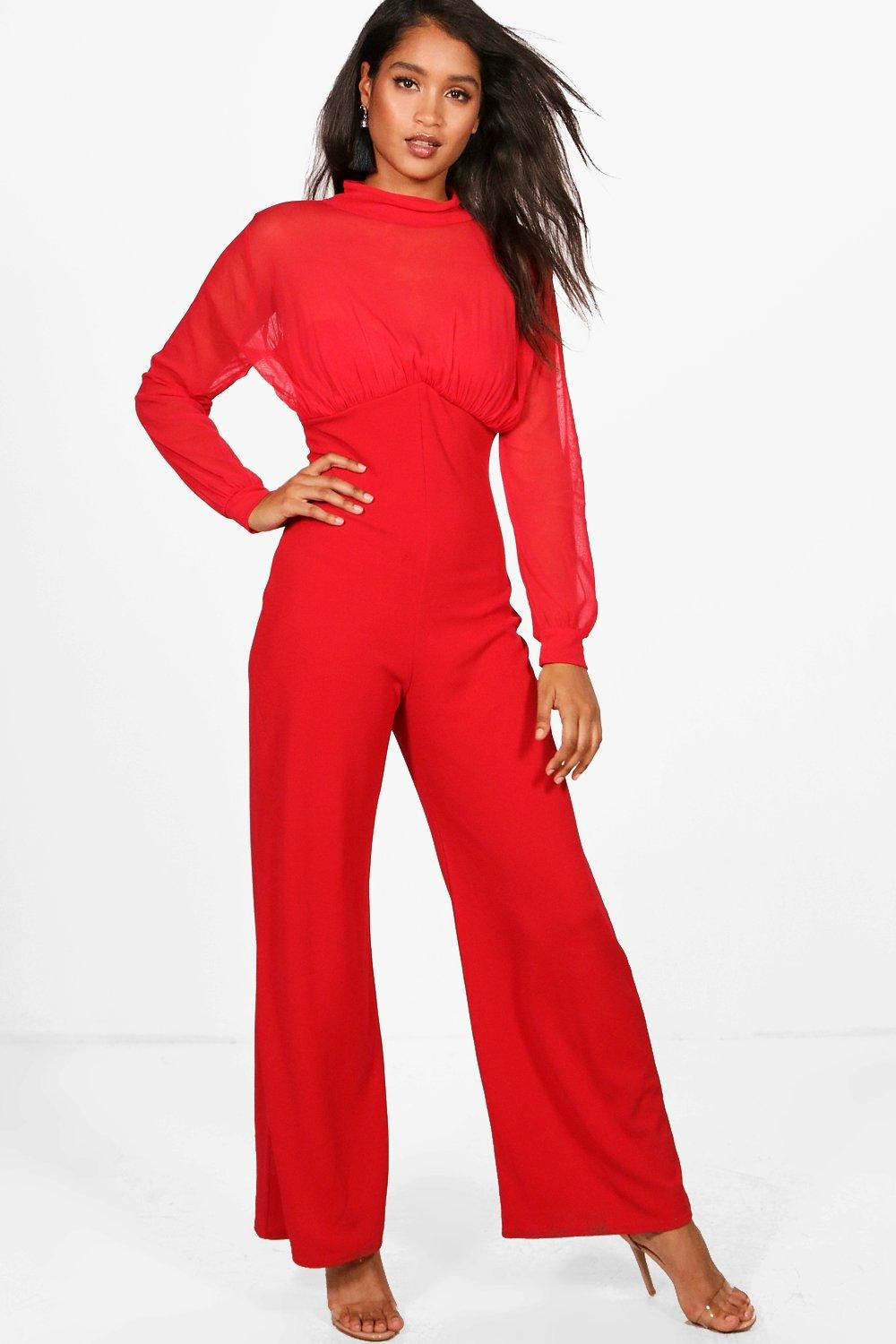 f711c66428 Boohoo High Neck Wide Leg Jumpsuit in Red - Lyst