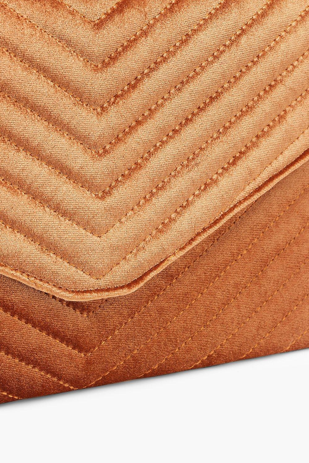 Boohoo Quilted Velvet Clutch And Chain in Brown - Lyst 0ff08a79c0c94