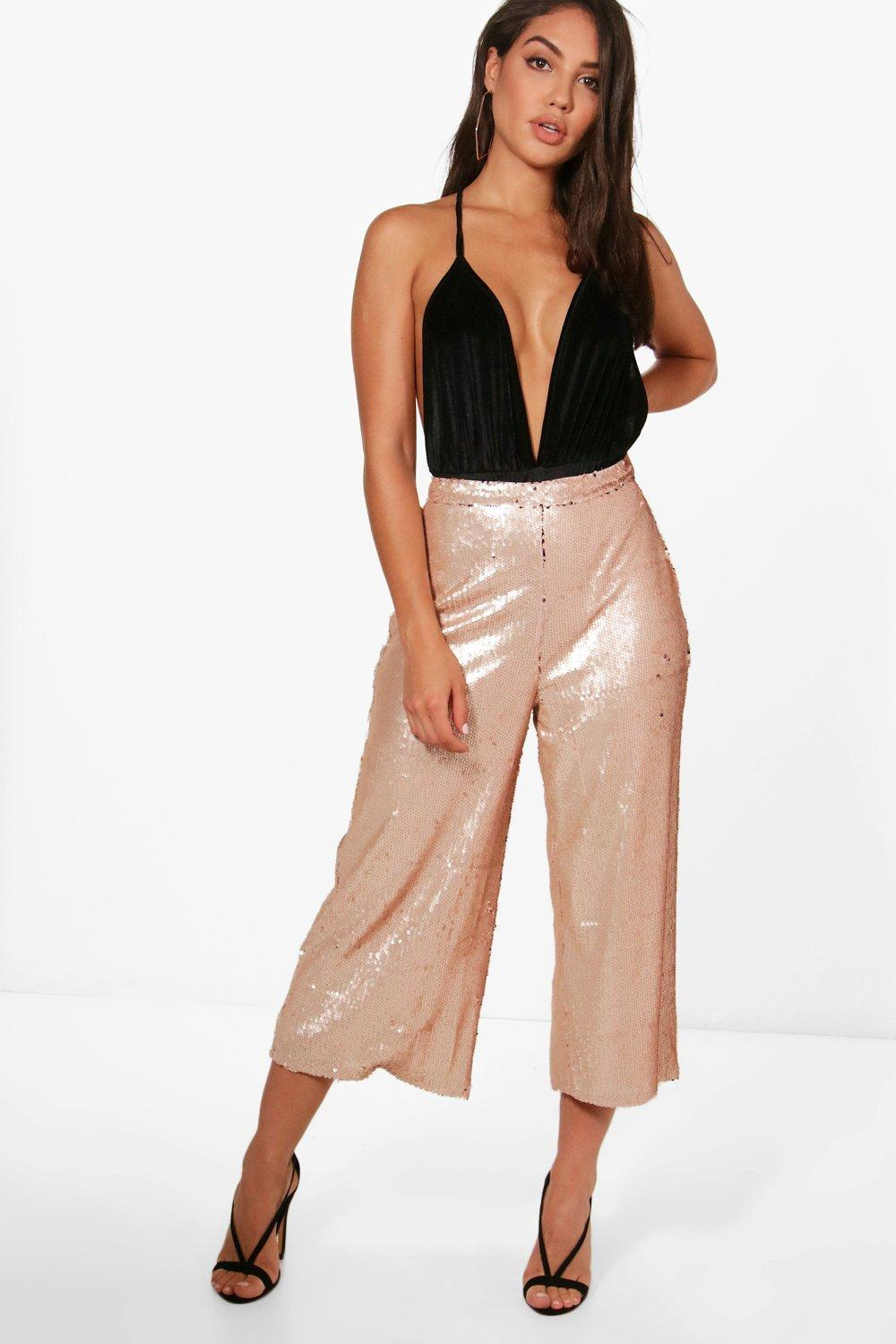 07566ed71f48 Boohoo All Over Sequin Wide Leg Culottes - Lyst
